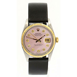 Mens Vintage ROLEX Oyster Perpetual Datejust 36mm Pink MOP DIAMOND Dial Watch