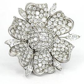 Vintage Pave Diamond Flower Brooch in Platinum ( 12.50 ct tw )