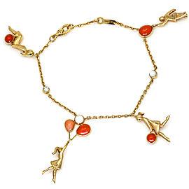 Van Cleef & Arpels Mercredi á Paris Coral Diamond Charm Bracelet 18k Rose Gold