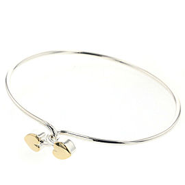 TIFFANY & Co 925 Silver Double heart combination Bangle TBRK-474