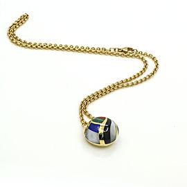 Asch Grossbardt Inlay Gemstone Diamond Necklace in 18k Yellow Gold