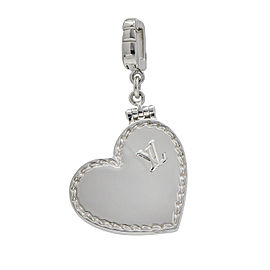 Louis Vuitton Heart Locket Charm Pendant in 18k White Gold
