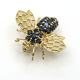 Blue Sapphire Bee Brooch in 14k Yellow Gold