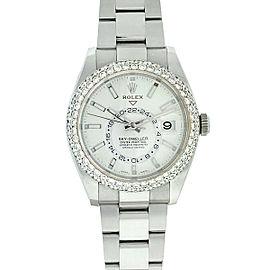 Rolex 326934 Sky Dweller Pave Diamond Bezel White Dial Stainless Steel Watch