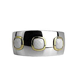 DAVID YURMAN ST. SILVER & 18K GOLD ALBION WHITE AGATE LARGE 35 mm BRACELET 14BA