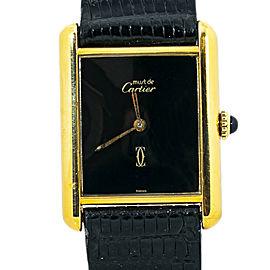 Cartier Tank Vermeil Black Dial Unisex Manual Winding 925 Gold Plated Watch 22mm