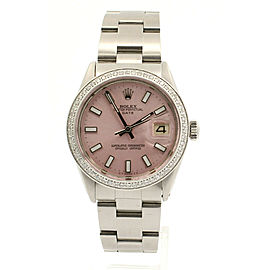 Mens Vintage ROLEX Oyster Perpetual Date 34mm ICE PINK Dial St Steel Watch