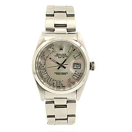 Mens ROLEX Oyster Perpetual Date 34mm White MOP Roman Dial Diamond Steel Watch