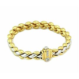 Chimento 18k Two Tone Gold Reversible Braided Puff Link Wide Bracelet