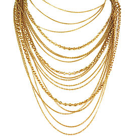 Gucci 18k Gold Multi-Strand Marina Rolo Link Necklace With Horsebit Clasp 104gr