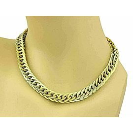 Rare Mario Buccellati Braided Solid 18k Two Tone Gold Curb Link Necklace 131gram