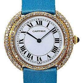 Cartier Vendome Large Diamond Bazel White Roman Dial Lady's Watch 33mm