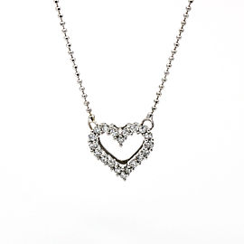 Diamond Heart Beaded Chain Necklace in 14k White Gold ( .20 ct tw )