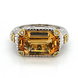 Authentic Judith Ripka 925 Silver 18K Yellow Gold Diamonds & Citrine Ring Size 7