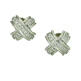 Tiffany & Co. X Diamond Stud Earrings in 18k White Gold