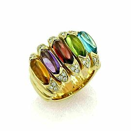 Estate Diamond Multicolor Gems 18k Yellow Gold Large Band Ring