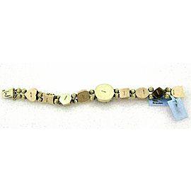 Estate 14k Yellow Gold Multicolor Gemstone Slide Charm Bracelet