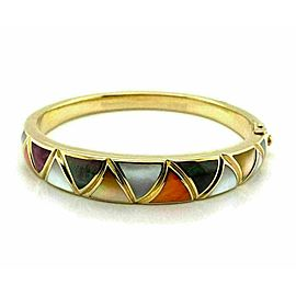 Asch Grossbardt Multicolor Mother of Pearl Inlaid 14k Yellow Gold Bangle