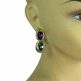 H.Stern Amethyst & Blue Topaz 18k Yellow Gold 2 Oval Tier Post Clip Earrings