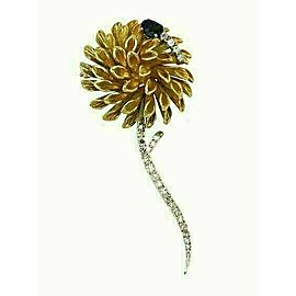 Estate 1.00ct Diamond & Sapphire 18k Two Tone Gold Fancy Flower Brooch Pin
