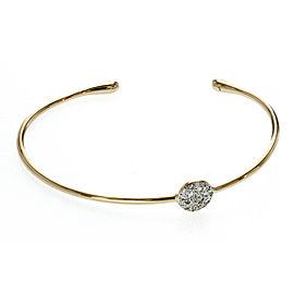 Authentic Pomellato 18K Yellow Gold Metallic Diamond Sabbia Cuff Bracelet Size L