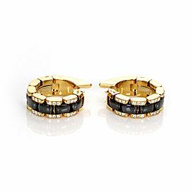 Chanel Ultra Diamond Black Ceramic 18k Yellow Gold 6mm Wide Hoop Earrings