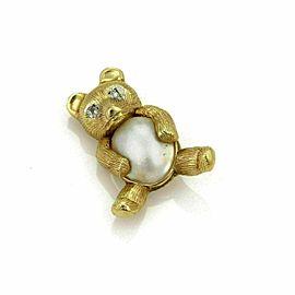 Vintage Diamond Mabe Pearl Bear 14k Yellow Gold Brooch Pin