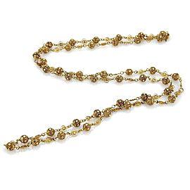 "Estate 18k Yellow Gold Filigree Floral Balls Fancy Necklace 46"" Long"