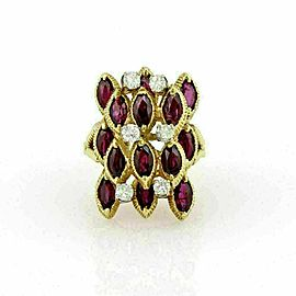 Diamond & Garnet 18k Yellow Gold Fancy Cocktail Ring