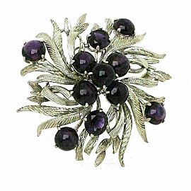 Cabochon Amethyst 14k White Gold Floral Design Brooch Pin