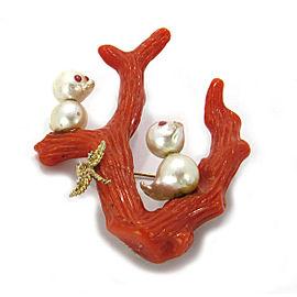 Antique Diamond Coral Pearls 14k Gold Tree & Bird Brooch Pin