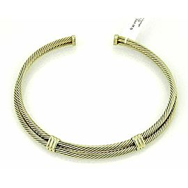David Yurman Classic Double Cable Wire 14k Yellow Gold Choker Necklace