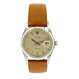 Mens ROLEX OysterDate Precision 6694 Stainless Steel Linen Silver Dial Watch