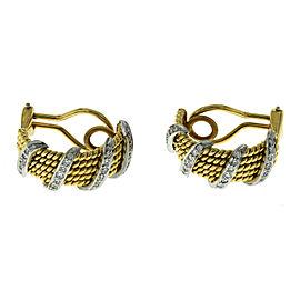 Tiffany & Co Schlumberger 18K Yellow Gold Platinum Diamond 4 Row Wrap Earrings