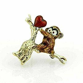 Enamel 14k Gold Baby Koala Bear In Tree & Heart Brooch