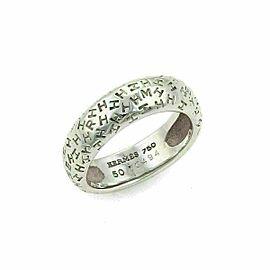 Hermes Graffiti H Logo 18k White Gold Band Ring