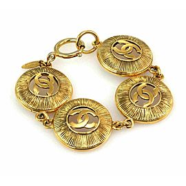 Chanel Fashion C Logo Gold Finish 4 Large Round Station Bracelet