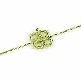 Victoria Casal Diamond 18k Yellow Gold 4 Clover Leaf Charm Bracelet