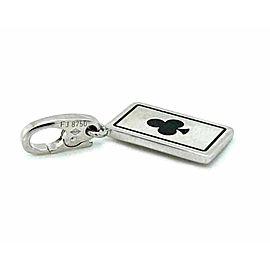 Cartier Double C 18k White Gold Black Enamel Club Card Charm Pendant