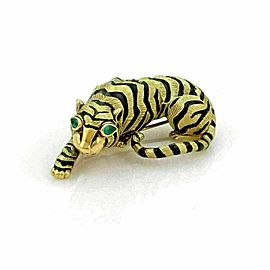 Estate Emerald & Enamel 3D Tiger 18k Yellow Gold Brooch Pin