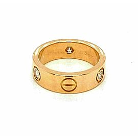 Cartier Love 3 Diamond 18k Yellow Gold 5.5mm Band Ring Size 49 w/Cert