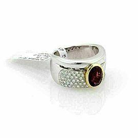 Koesia 1.60ct Diamonds & Garnet 12mm Wide 18k Gold Band Ring Rt. $12,370
