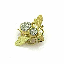 Diamonds & Emerald Bee 18k Yellow Gold Pin Brooch