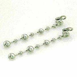 Koesia 1.26ct Diamond 18k White Gold Fancy Spinner Discs Long Earrings