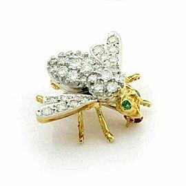 Herbert Rosenthal Diamond & Ruby 18k Yellow Gold Bee Brooch Pin