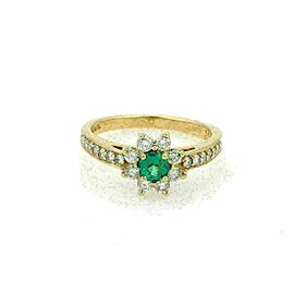 Tiffany & Co. Diamond & Emerald 18k Yellow Gold Floral Ring Size 4.5