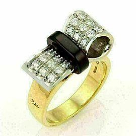Pomellato Diamond & Garnet 18k Yellow Gold Bow Ring