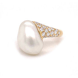 Mikimoto Diamond Akoya Pearl 18k Yellow Gold Ring