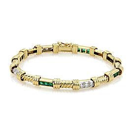 Charles Turi 1.75ct Diamond & Emerald 18k Two Tone Gold Ribbed Link Bracelet