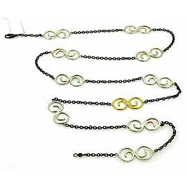 Gurhan Vortex Dark & White Sterling & 24k Gold Spiral Necklace